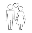 couple together with love heart pictogram vector image vector image