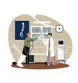 doctor talking to patient with broken leg in cast vector image