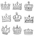 doodle of various crowns hand draw vector image vector image