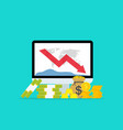 down money budget on data graph chart loss vector image