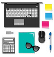 flat set of stationery on the table with laptop vector image