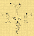 four men are engaged in kung fu vector image vector image