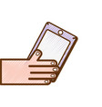 grated hand with smartphone technology object vector image vector image