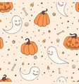halloween repeat pattern with pumpkins ghosts vector image vector image