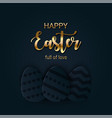 happy easter greeting banner with a gold lettering vector image vector image