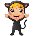 happy little girl wearing cat costume waving hand vector image vector image