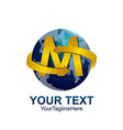 initial letter m logo template colored yellow vector image