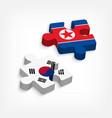 jigsaw of south korea and north korea vector image