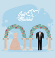 just married wedding card vector image vector image