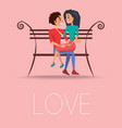 love poster with happy couple sitting on bench vector image vector image