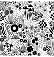 monochrome flower field pastel black on white vector image vector image
