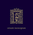 monogram with crown f vector image vector image
