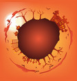 orange halloween party circle gradient greeting vector image