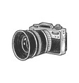 photo camera with huge lens sketch vector image