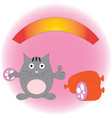 Pleased funny cat with sausage vector image