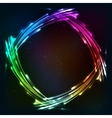 Rainbow colors shining neon lights frame vector image vector image