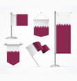 realistic 3d detailed qatar flag banner set vector image