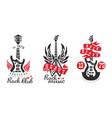 rock club logo templates set heavy rock music vector image vector image