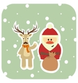 Santa and reindeer in a scarf congratulate vector image vector image