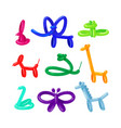 set balloon animals rabbit elephant and frog vector image