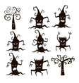 Set of silhouette trees and stumps icons vector image