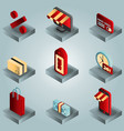 shopping color gradient isometric icons vector image