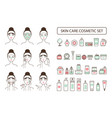 skin care cosmetic set on promo poster with woman vector image