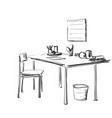 table with paper and workplace drawn by hand vector image vector image