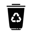 trash bucket with recycle sign icon vector image vector image