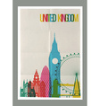 Travel United Kingdom landmarks skyline vintage vector image vector image