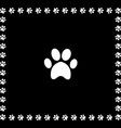white animal pawprint icon framed with paw prints vector image vector image