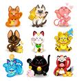 Maneki Neko Fortune Cat Collection vector image