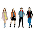 four fashionable teenagers vector image