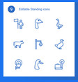 9 standing icons vector image vector image