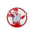 Baseball Pitcher Throwing Ball Circle Side Woodcut vector image vector image