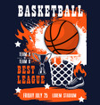 basketball sport tournament match invitation vector image vector image