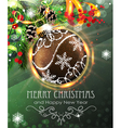 Brown Christmas bauble with fir branches and vector image vector image