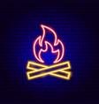 campfire neon sign vector image vector image