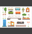 cartoon of train railroad vector image vector image