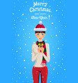 christmas and new year of cute girl with brown vector image vector image