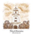 church bush cloud - watecolor and ink vector image
