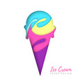 cold sweet ice cream silhouette cut out paper art vector image