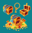 collection wooden chests with treasures gold vector image