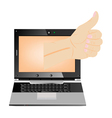 computer thumbs up vector image vector image