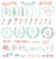 floral laurel wreath set vector image vector image