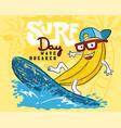 Funny banana cartoon playing surfboard in the