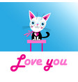 funny love kitten with a heart vector image vector image
