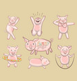 funny pigs a set of pigs engaged in sports vector image vector image