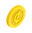 Gold coin with cent sign icon isometric 3d style vector image vector image
