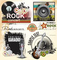 Grunge music banner set vector image